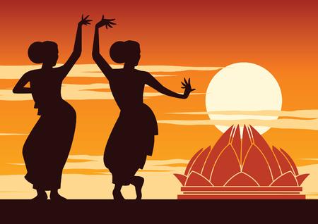 India dancer perform near famous landmark on sunset time,silhouette design,vector illustration Illustration
