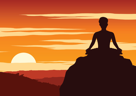 India Yogi perform yoga, a kind of relax , around with nature on sunset time,silhouette design,vector illustration