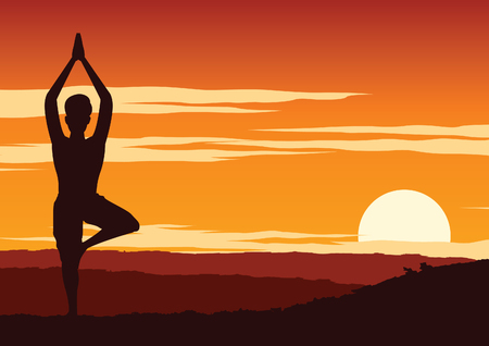 India Yogi perform yoga, a kind of relax , around with nature on sunset time,silhouette design,vector illustration Иллюстрация