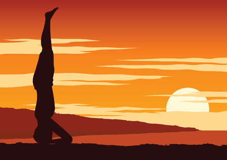 India Yogi perform yoga, a kind of relax , around with nature on sunset time,silhouette design,vector illustration Stock Illustratie