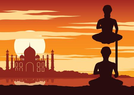 India Yogi perform yoga near famous landmark called Taj mahal on sunset time,silhouette design,vector illustration