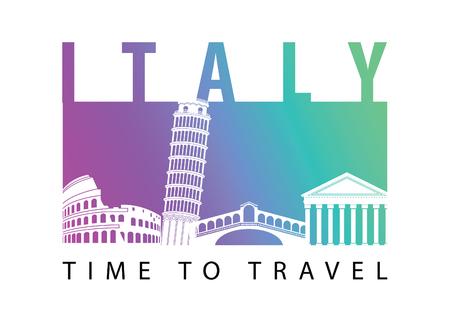 Italy famous landmark silhouette style,vector illustration,gradient neon colorful design Иллюстрация