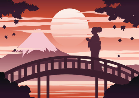 japan woman in kimono dress stand on bridge near Fuji mount on sunset time while maple fall,silhouette light and shadow design,vintage color,vector illustration
