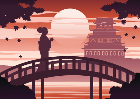 japan woman in kimono dress stand on bridge near castle on sunset time while maple fall,silhouette light and shadow design,vintage color,vector illustration