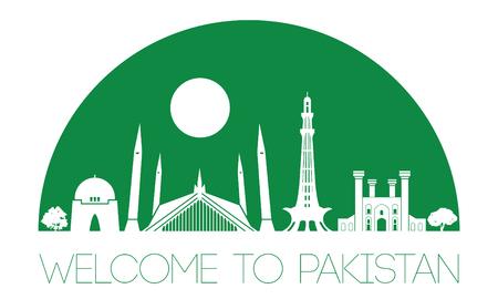 Pakistan famous landmark silhouette style, text within, vector illustration