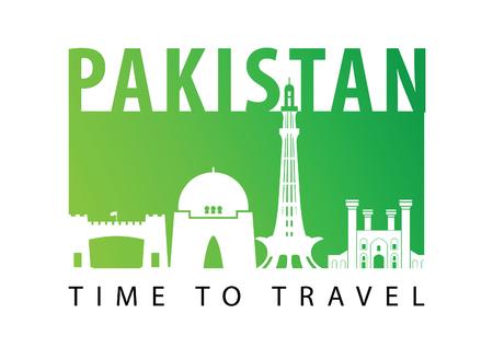 Estilo de silueta de monumento famoso de Pakistán, ilustración vectorial, diseño colorido de neón degradado