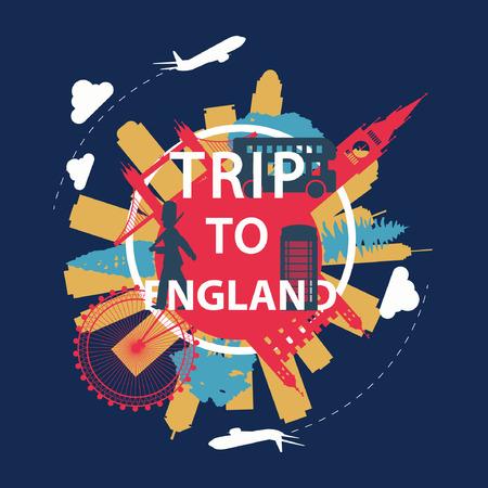 England famous landmark silhouette overlay style around text,vintage design,vector illustration Иллюстрация