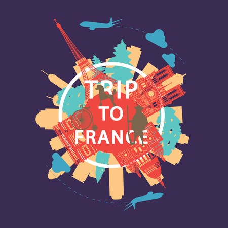 France famous landmark silhouette overlay style around text,vintage design,vector illustration