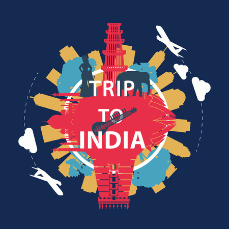India famous landmark silhouette overlay style around text,vintage design,vector illustration