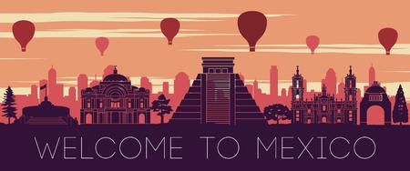 Mexico famous landmark sunset time silhouette design,vector illustration