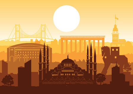 Turkey famous landmark silhouette style with row design on sunset time,vintage color,vector illustration Illustration