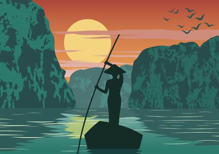 Bateau à rames homme pour rentrer à la maison par la baie d'Ha Long célèbre monument du Vietnam, couleur vintage, illustration vectorielle Vecteurs