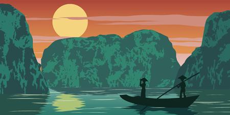 Frau steht im Boot, um nach Hause zu kommen, vorbei an Ha Long Bay, berühmtes Wahrzeichen Vietnams, Vintage-Farbe, Vektorgrafiken