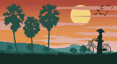 Vietnamese woman hold bicycle walk pass rice field and palm tree on sunset time,vector illustration