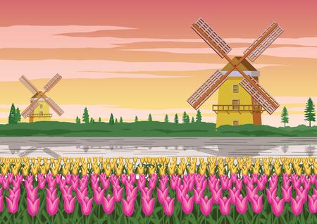 giardino di tulipani, famoso simbolo dell'Olanda e mulino a vento in giro con una natura bellissima, colore vintage, illustrazione vettoriale