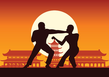 Chinese Boxing Kung Fu martial art famous sport,two boxer fight together around with Chinese temple,sunset silhouette design