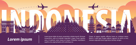 Indonesia famous landmark silhouette style,text within,travel and tourism,purple and orange tone color theme,vector illustration