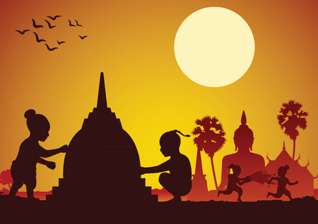 Childrean throw water each other and build sand pagoda in Song kran day famous festival of Thailand Loas Myanmar and Cambodia,new year,silhouette design,vector illustration Иллюстрация