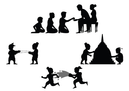 set of activity of people in Song kran day famous festival of Thailand Loas Myanmar and Cambodia,new year,silhouette design