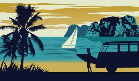 Nature scene of sea in summer,man hold surfboard near beach,vintage color design,vector illustration 일러스트