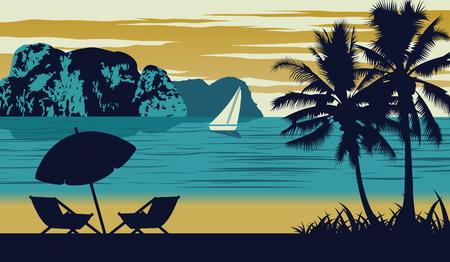 Nature scene of sea in summer,umbrella and cot are on beach,vintage color design,vector illustration 일러스트