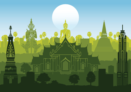 Thailand famous landmark silhouette style with row design on sunset time,green and blue color,vector illustration