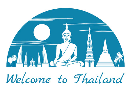 Thailand famous landmark silhouette style inside by blue color half circle shape, text within, vector illustration