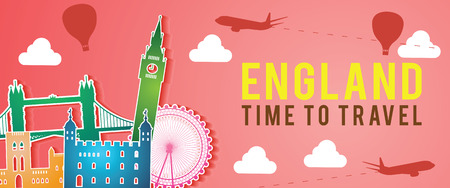 banner of England famous landmark silhouette colorful style,plane and balloon fly around with cloud,vector illustration