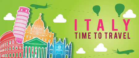 green banner of Italy famous landmark silhouette colorful style,plane and balloon fly around with cloud,vector illustration