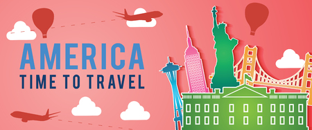 red banner of united state of america famous landmark silhouette colorful style,plane and balloon fly around with cloud,vector illustration