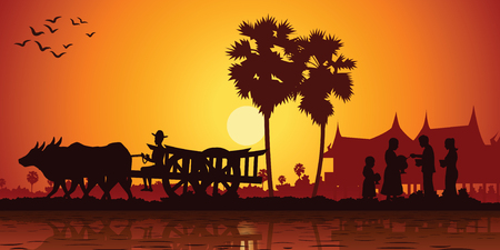 country life of Asia farmer ride cart to go to do work while monk receive food on sunrise time,silhouette style,vector illustration