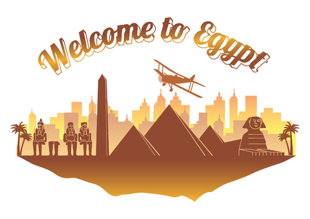 Egypt famous landmark silhouette style on float orange and brown color island  country name text,travel and tourism,vector illustration
