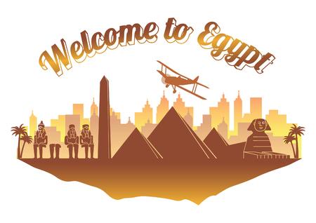 Style de silhouette célèbre de l'Egypte sur le texte du nom du pays de l'île de couleur orange et marron, voyages et tourisme, illustration vectorielle Vecteurs