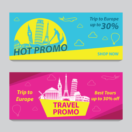 Bannière de promotion lumineuse et colorée de couleur rose et bleue pour les voyages en Europe, conception d'art de silhouette, illustration vectorielle Vecteurs