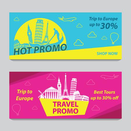 Striscione promozionale luminoso e colorato con colore rosa e blu per viaggi in Europa,silhouette art design,illustrazione vettoriale Vettoriali