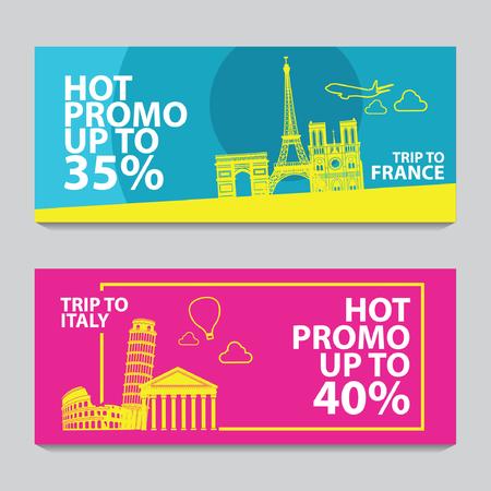 Banner de promoción brillante y colorido con color rosa y azul para viajes por Europa, diseño de arte de silueta, ilustración vectorial