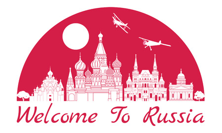 Russia famous landmark silhouette style inside by red color half circle shape, text within, vector illustration