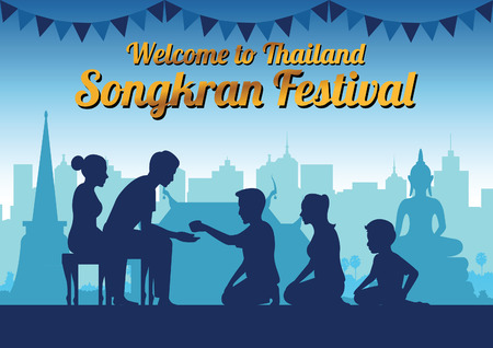 father mother and child pour water to grandparents to pay respect and bless in Song kran day famous festival of Thailand Loas Myanmar and Cambodia,new year,silhouette design,vector illustration