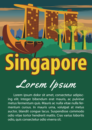 Singapore landmark brochure in typography vintage color design,advertising artwork,vector illustration