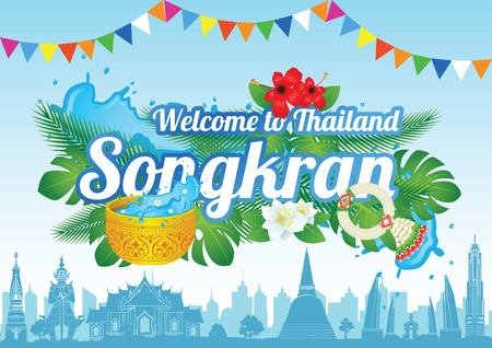 Idea art decorative of Song kran day famous festival of Thailand Loas Myanmar and Cambodia,new year,concept design,vector illustration Ilustração