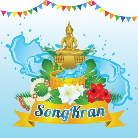 Idea art decorative of Song kran day famous festival of Thailand Loas Myanmar and Cambodia,new year,concept design,vector illustration Illustration