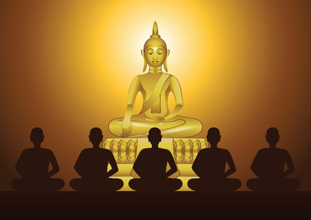 monk meditation in front of sculpture of Buddha to train mind and to be out of suffer in church of temple with faith,vector illustration Illustration