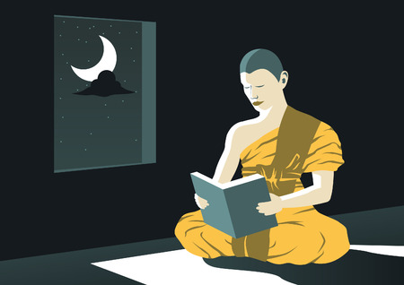monk read Dharma book at night in temple to study Buddha teach to be out of suffer,a routine of priest,vector illustration