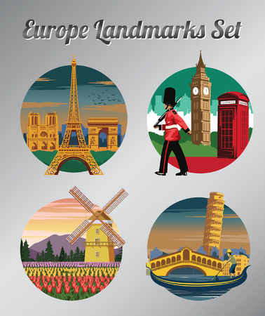 famous landmark and symbol of France,England,Netherlands and Italy for cloth and web design,vintage color,vector illustration
