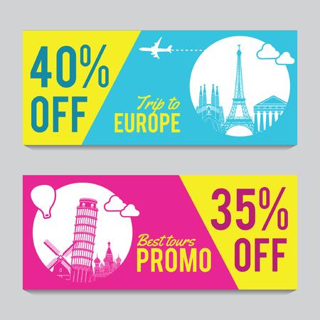 Striscione promozionale luminoso e colorato con colore rosa e blu per viaggi in Europa,silhouette art design,illustrazione vettoriale