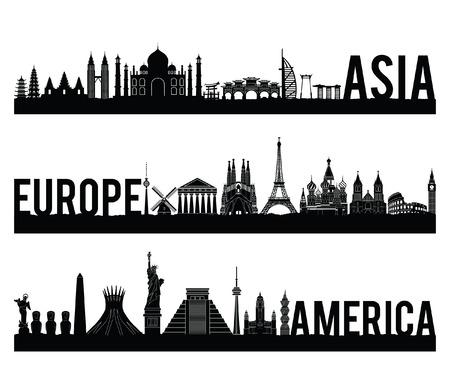 Asia Europa e America continente famoso punto di riferimento in stile silhouette con design a colori classico in bianco e nero incluso per nome del paese, illustrazione vettoriale Vettoriali
