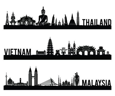 Tailandia, Vietnam y Malasia, el estilo de silueta de hito famoso con diseño de color clásico en blanco y negro incluye por nombre de país, ilustración vectorial