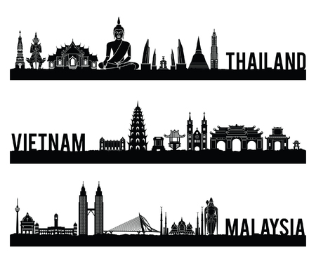 Thailand Vietnam and Malaysia famous landmark silhouette style with black and white classic color design include by country name,vector illustration