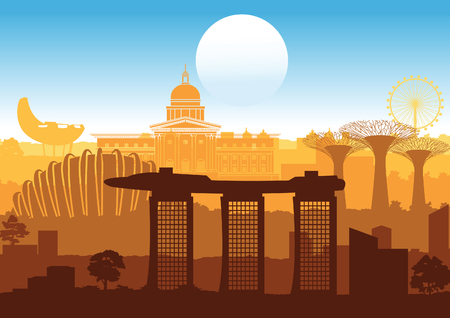 Singapore famous landmark silhouette style with step row design in orange and blue color,vector illustration