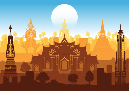 Thailand famous landmark silhouette style with step row design in orange and blue color,vector illustration